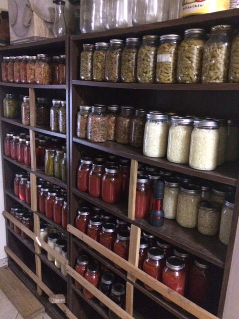 Jars of Dad's Homegrown & Canned Green Beans, Sauerkraut, Tomato Juice, Veggie Soup, & others in his cool room canning shelf